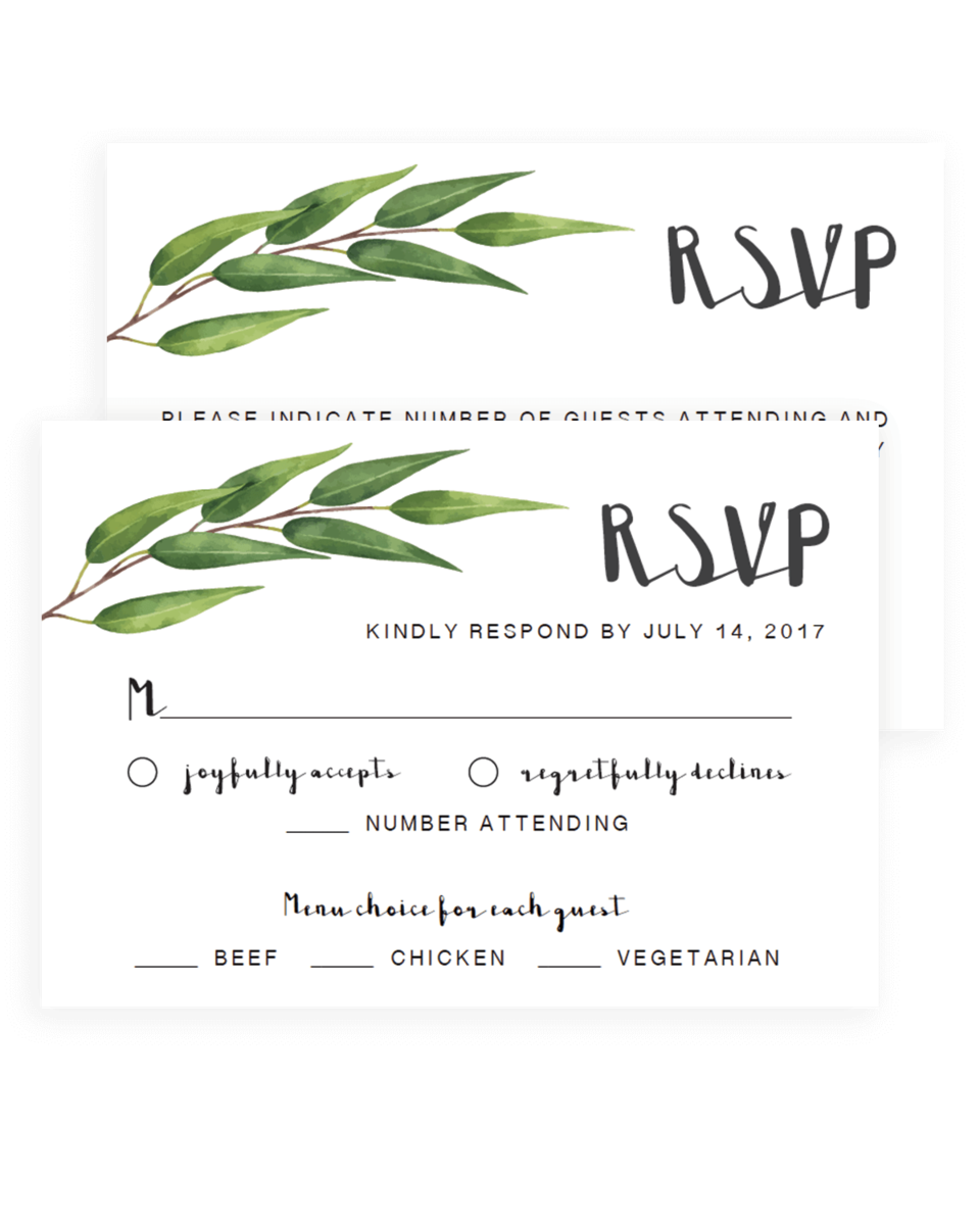Greenery Wedding Rsvp Cards Template - RE1