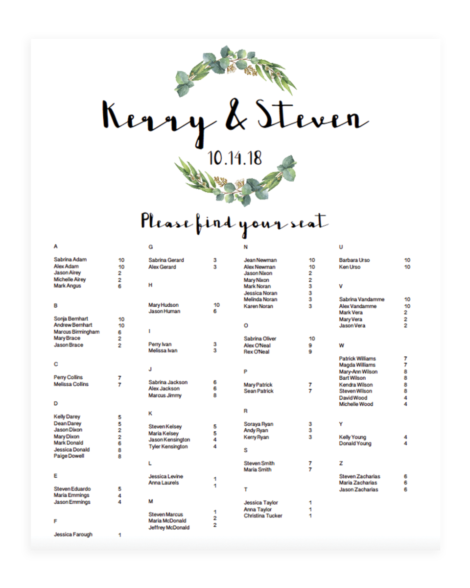 Green Alphabetical Seating Chart Templates - RE1