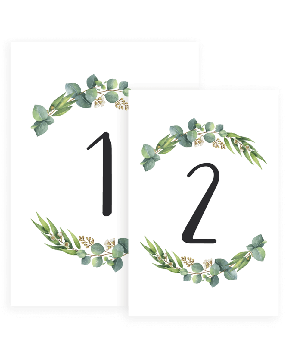Botanical Wedding Table Numbers Templates Re1