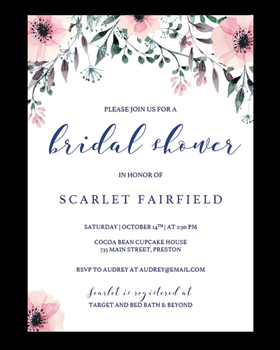 Floral Bridal Shower Invitation Template Download