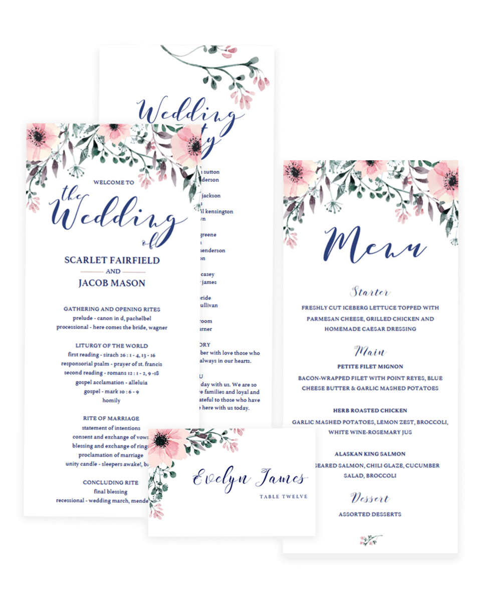 Floral Wedding Stationery Package - Program, Menu and Place Cards - SPG1