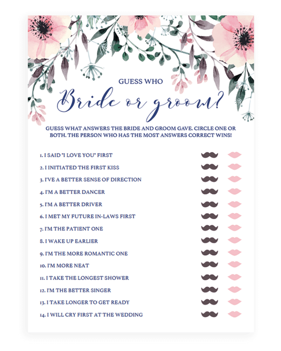 dfab7c7f1a6 Floral Bridal Shower Guessing Game - Bride or Groom Quiz - SPG1