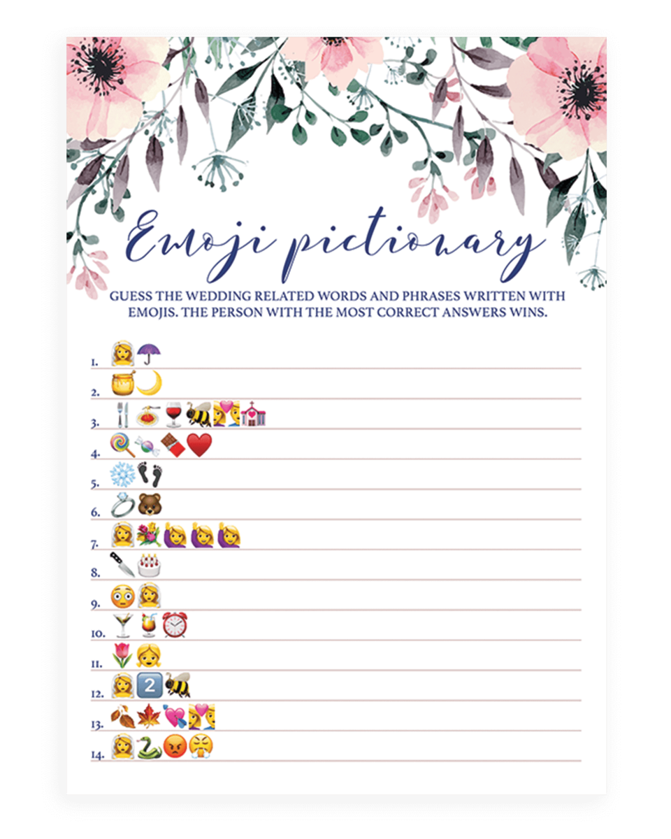 Blush Floral Bridal Shower Emoji Pictionary Game Printable - SPG1