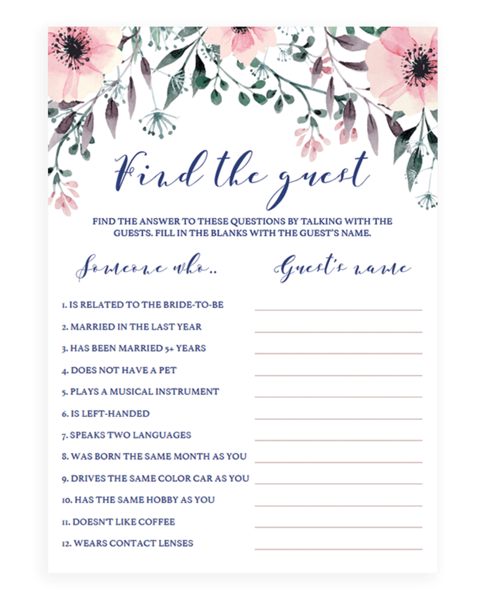 Bridal Shower Find The Guest Game