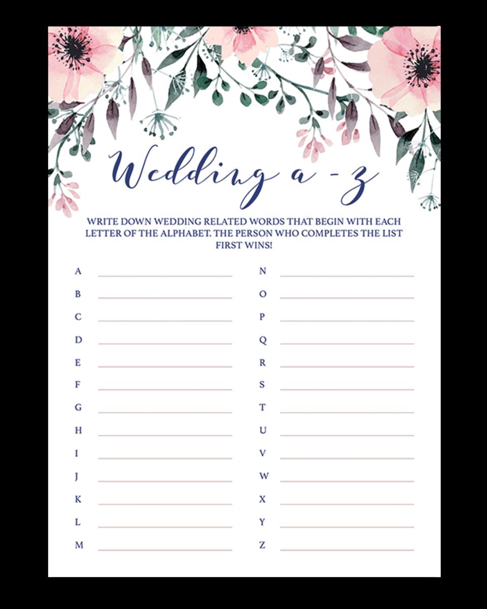 floral bridal shower wedding abc game cards