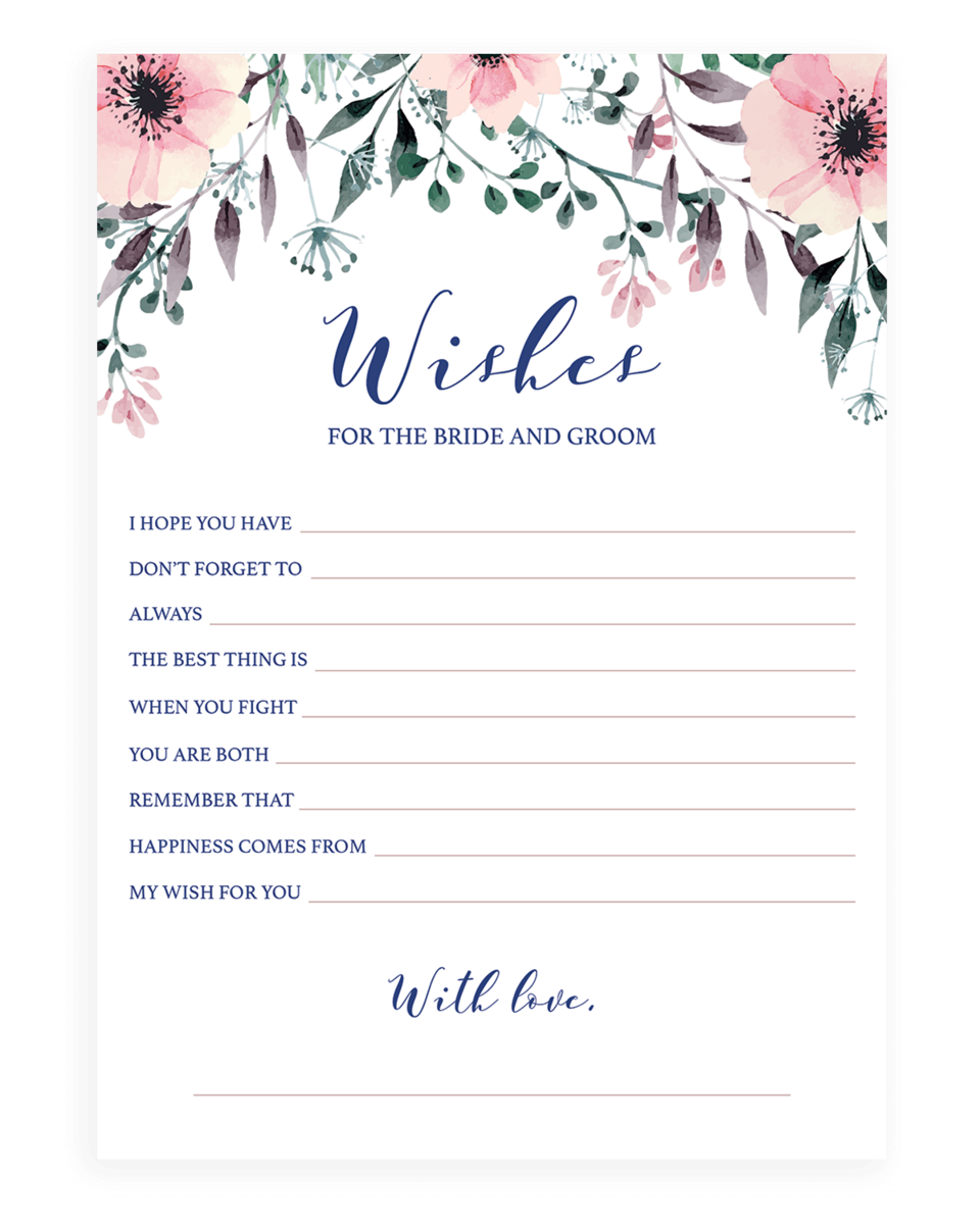Floral Wishes for the Bride and Groom Card Printable - SPG1
