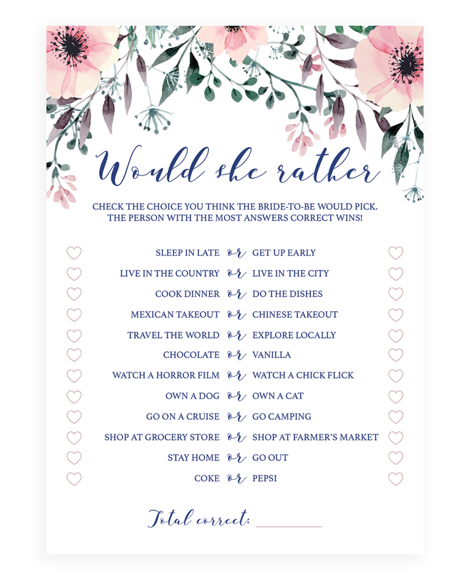 photo about Would She Rather Bridal Shower Game Free Printable known as Would She As a substitute Bridal Shower Match Printables - SPG1