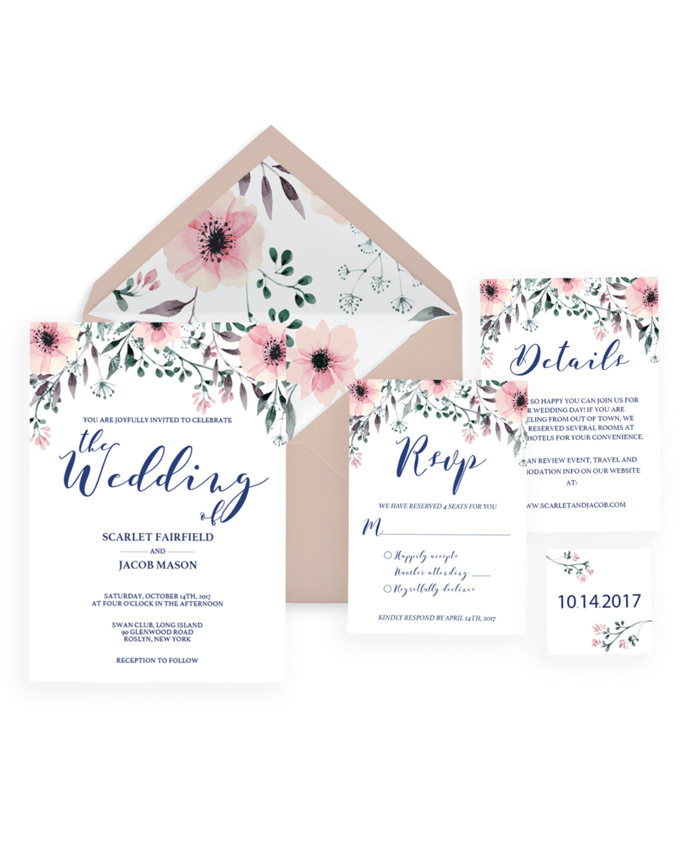 Floral Wedding Invitation Set - Pink Watercolor Flowers - Set of 8 - SPG1