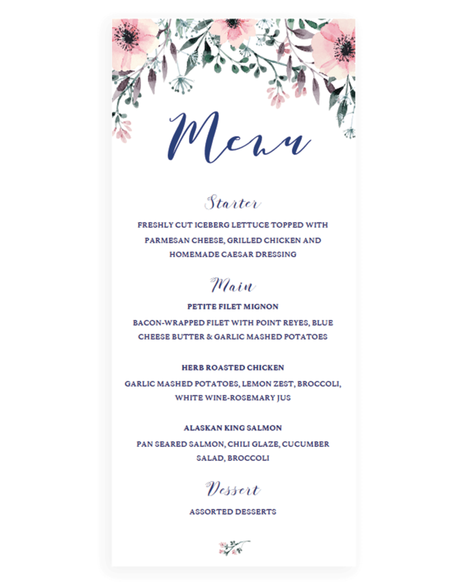 boho wedding menu card template instant download