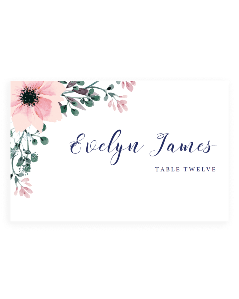 Watercolor Flowers Wedding Escort Cards Templates - SPG1