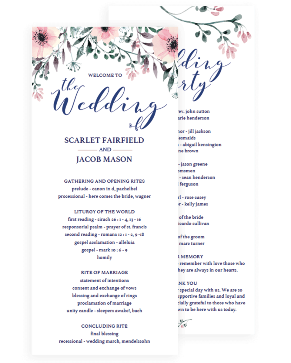 Floral Wedding Program Template Watercolor Flowers - Floral wedding program templates