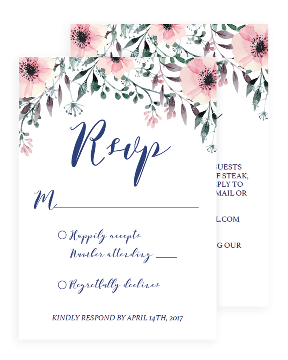 Blush Flowers Wedding Response Cards Template - SPG1