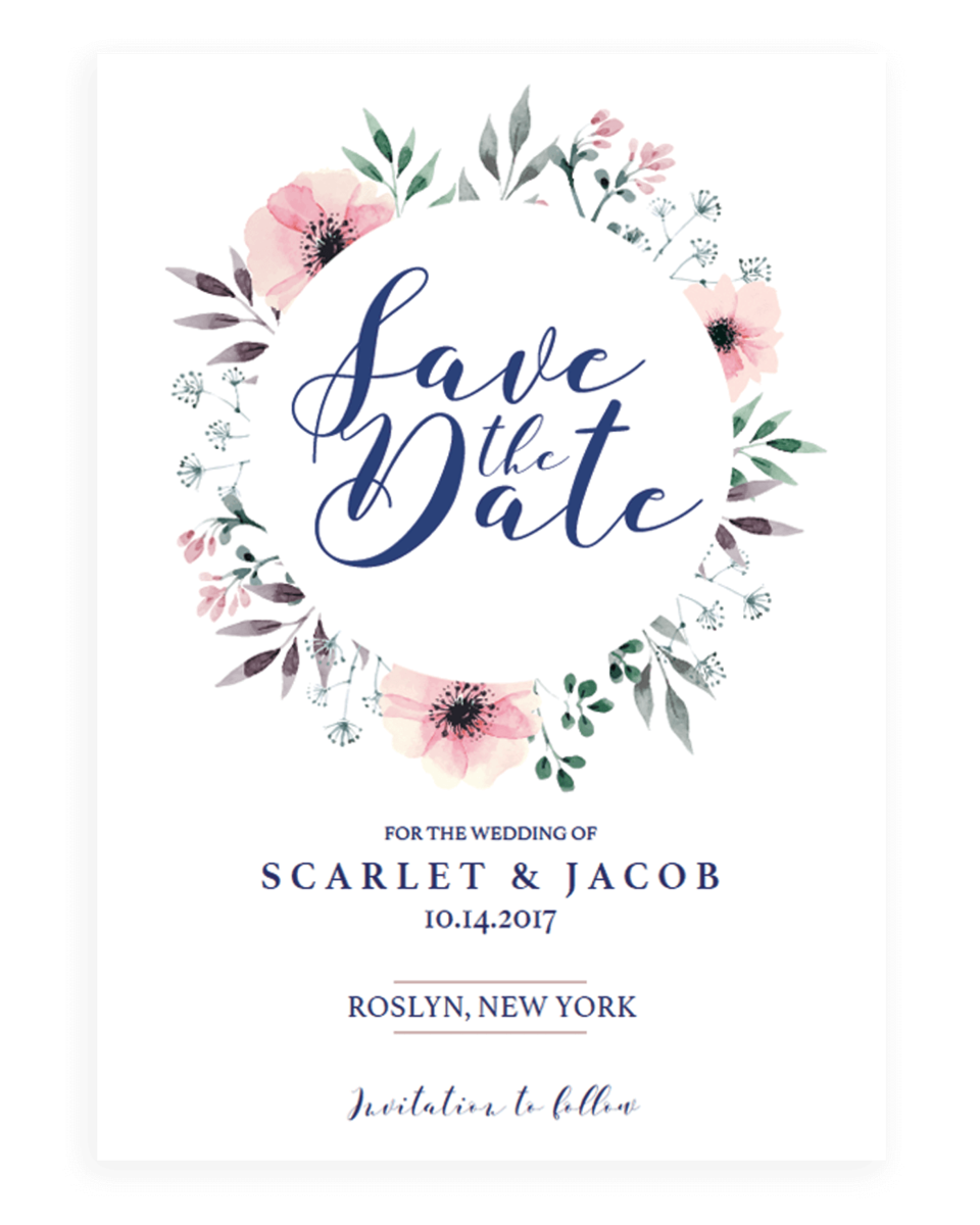 Watercolor Flowers Save the Date Card Template - SPG1