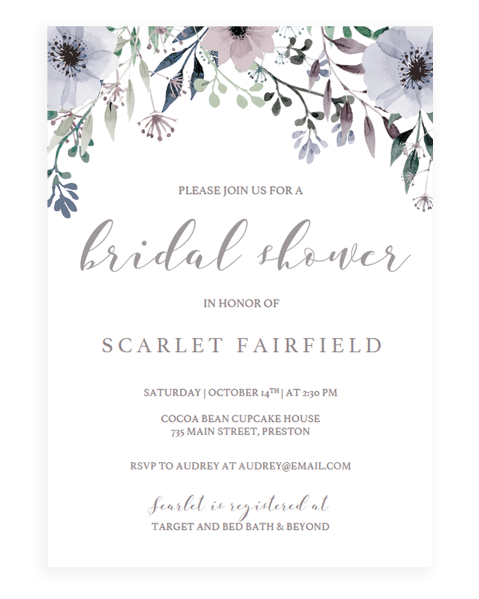 Purple Bridal Shower Invitation Template - Instant Download - STG1