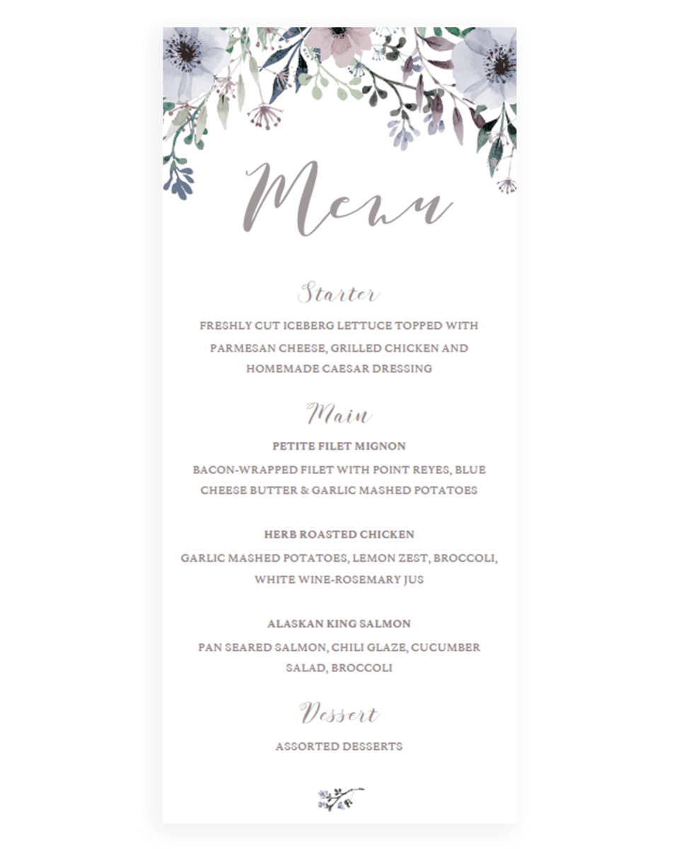 Printable Wedding Menu Card Instant Download - STG1