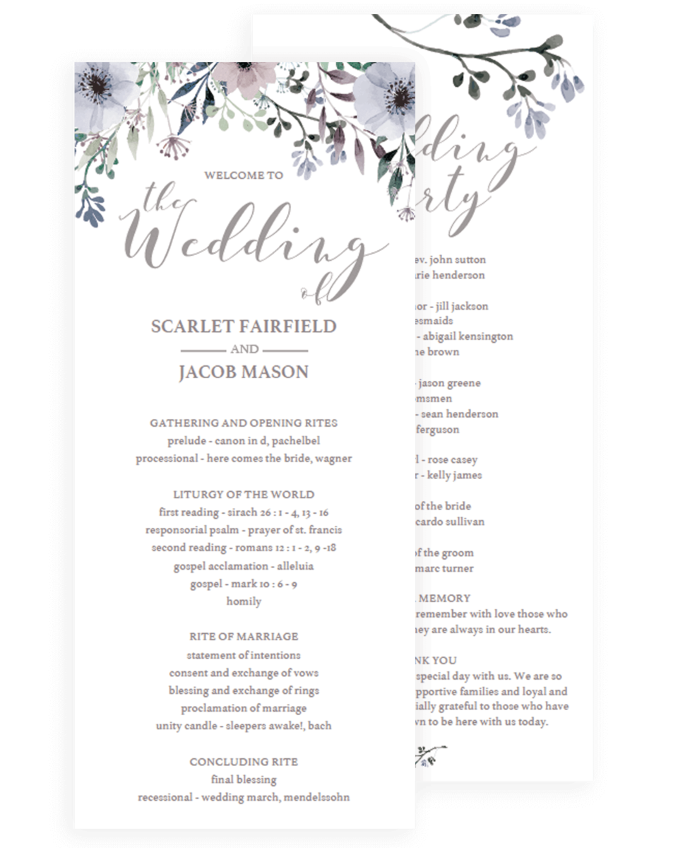editable wedding program with purple flowers
