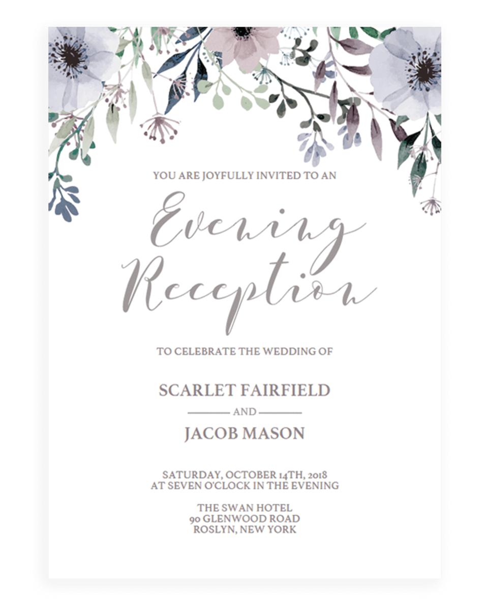 Floral Wedding Evening Reception Invite Template - STG1