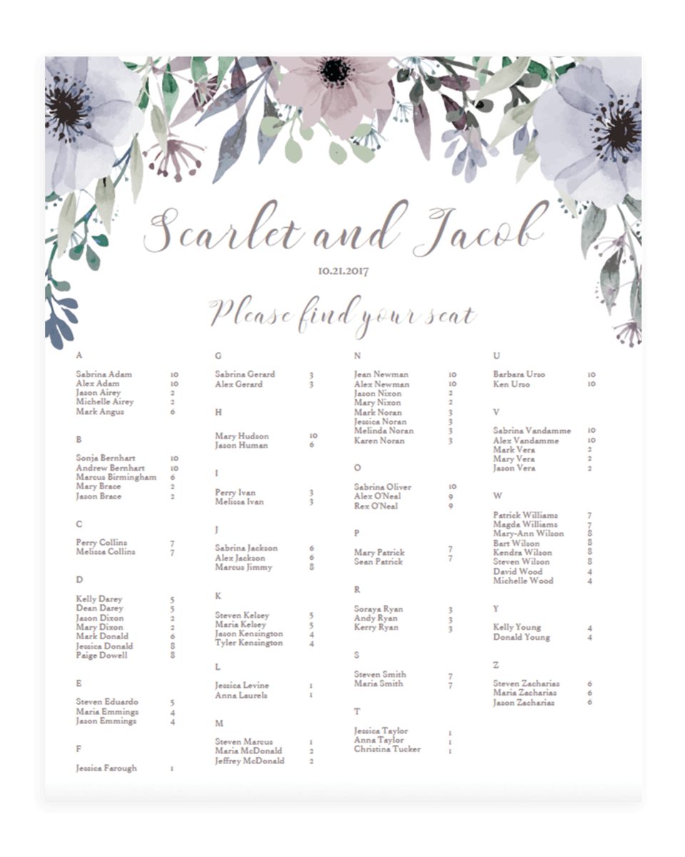 wedding seating plans templates