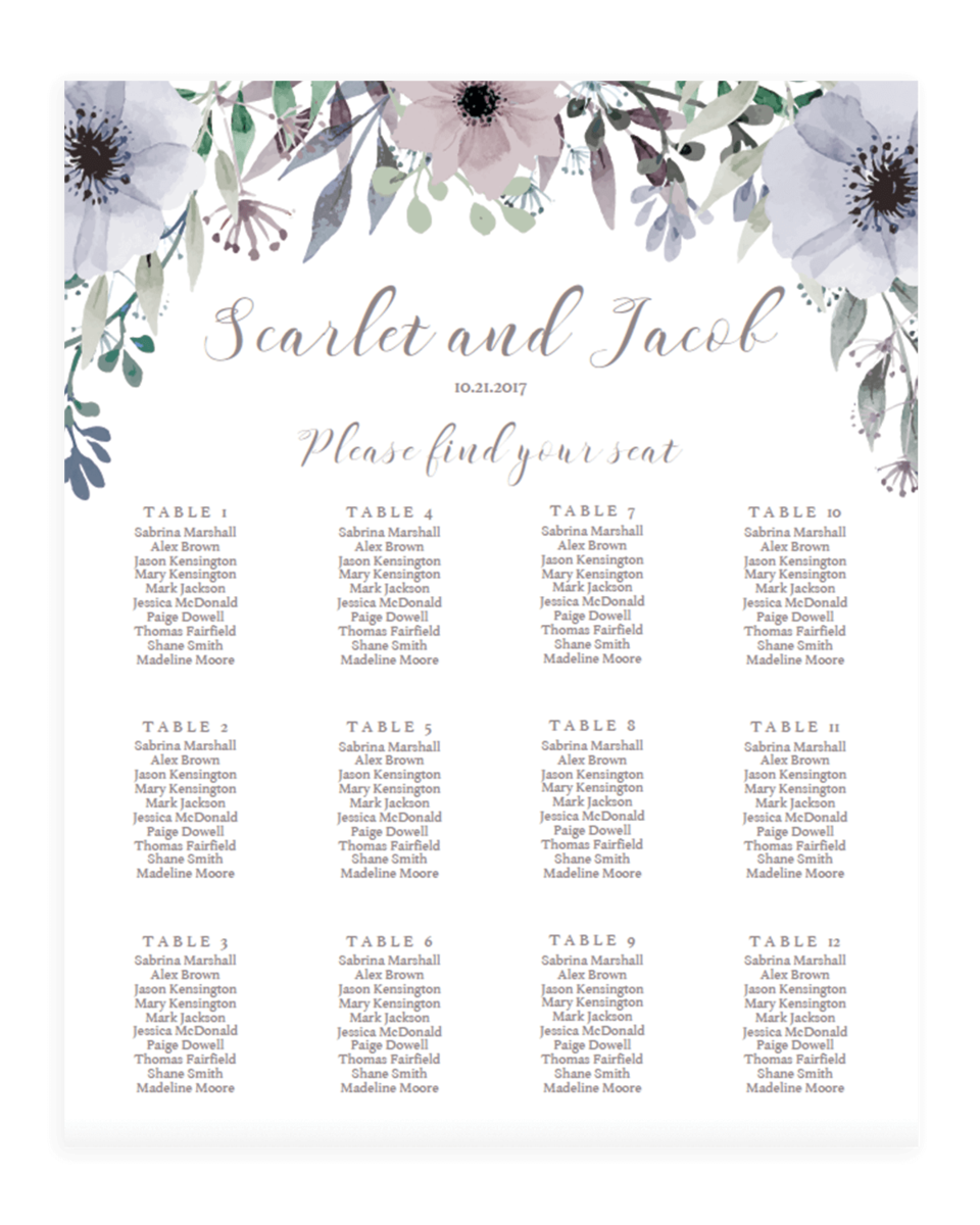 spring wedding table seating charts