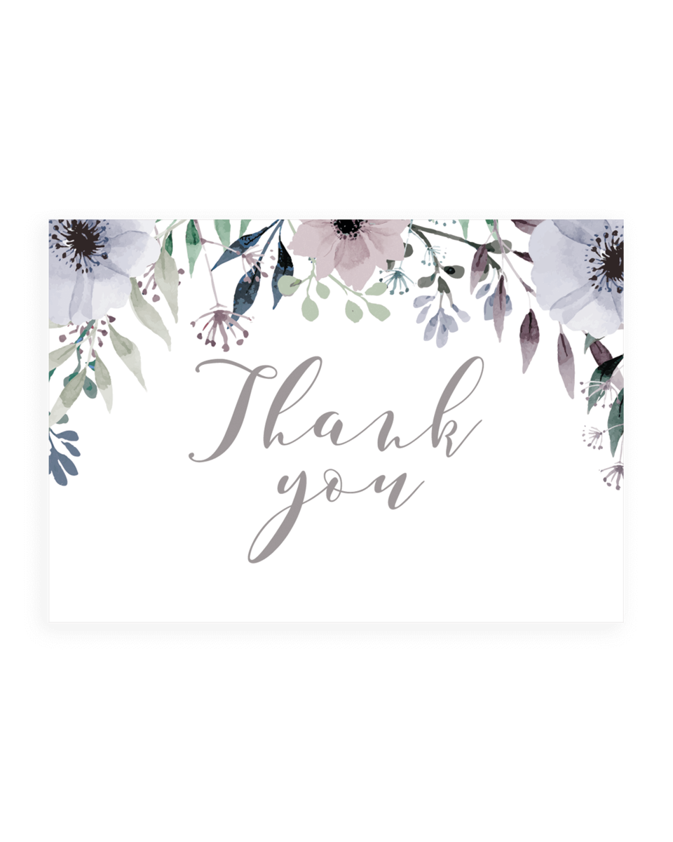 Violet Flowers Thank You Cards Templates - STG1