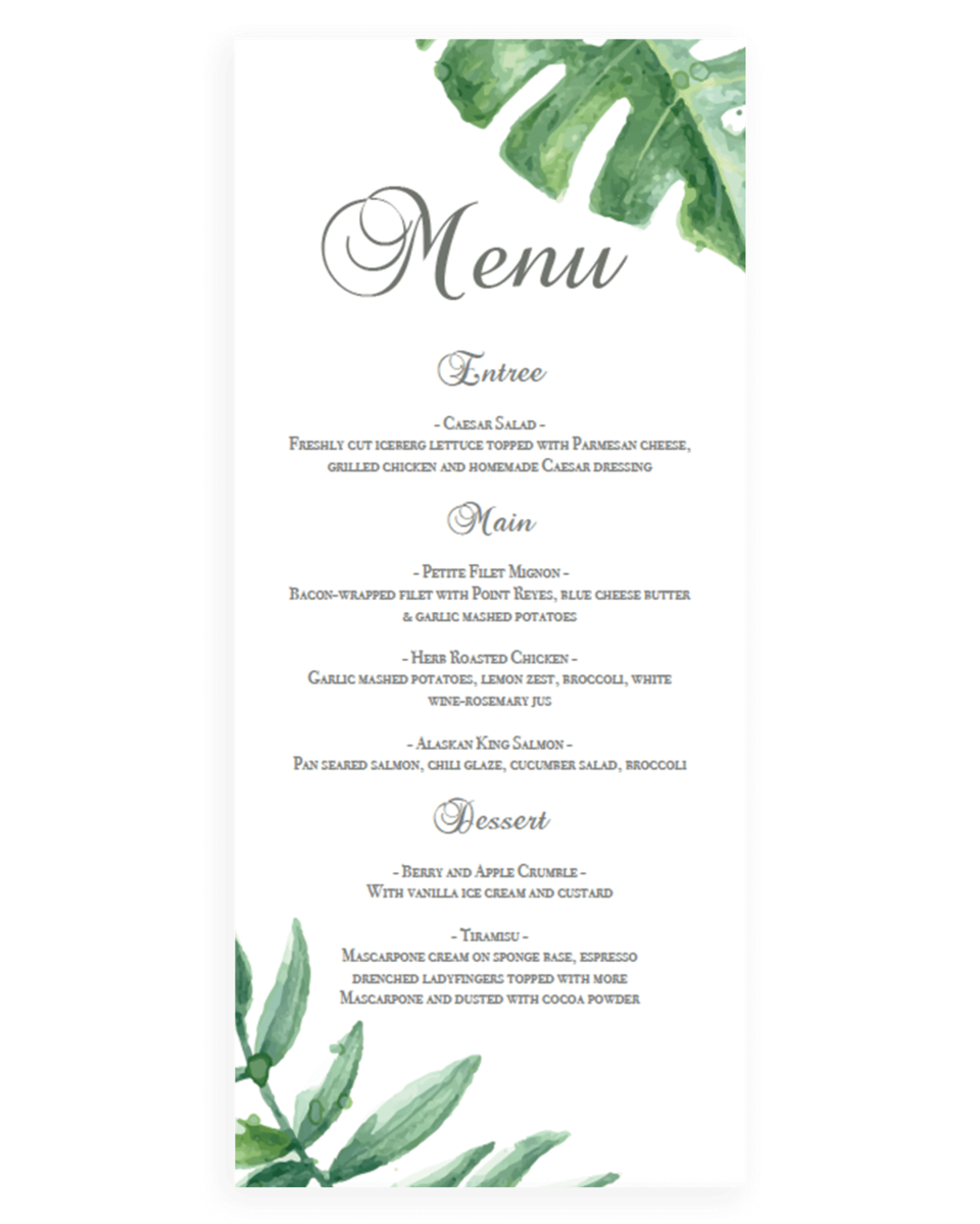 Tropical Leaves Wedding Menus Template - TF1