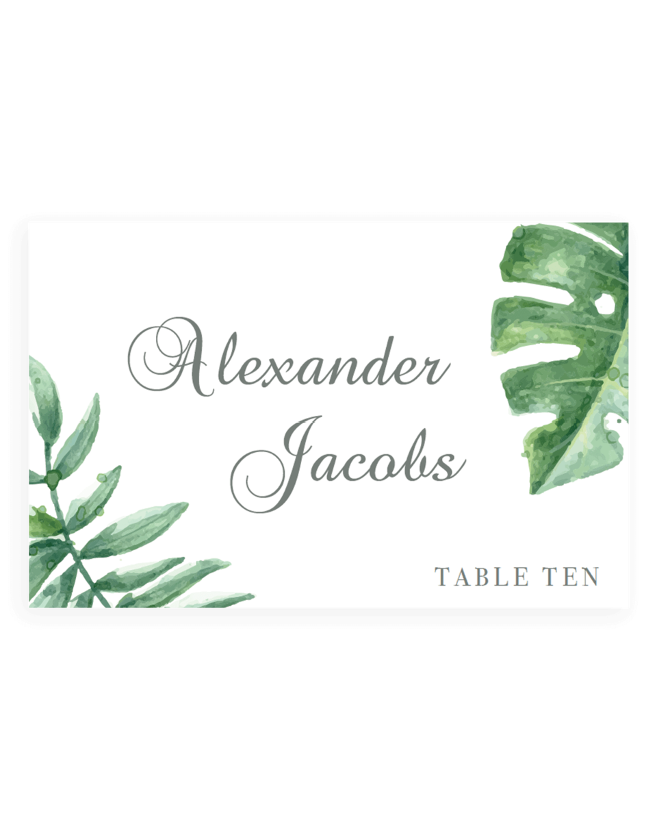 Tropical Wedding Seating Cards Template - TF1