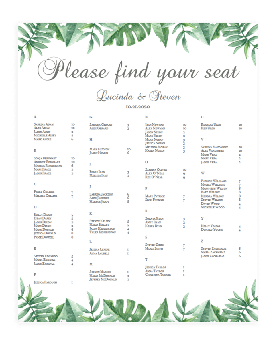 Tropical Leaves Wedding Seating Charts Template