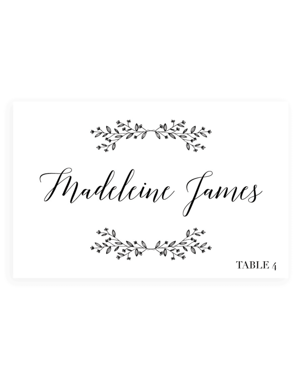 Rustic Wedding Name Cards Templates - Flat and Folded - TL1