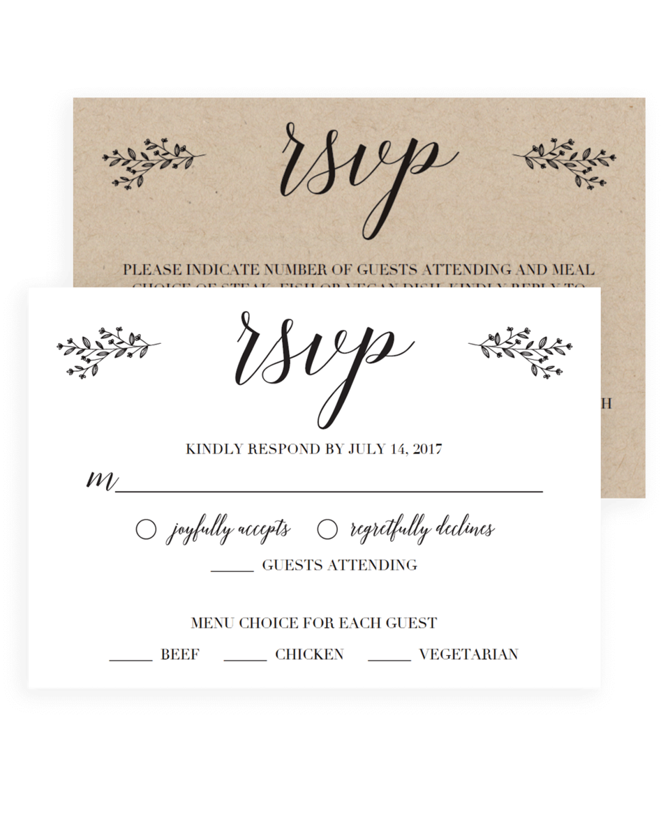 graphic about Printable Rsvp Card called Minimal Leaves Wedding day Rsvp Playing cards Printable - TL1