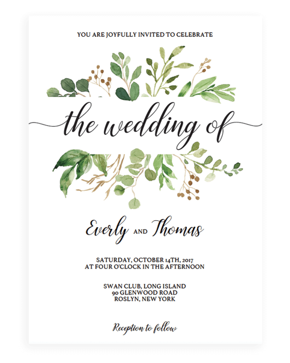 Green Leaves Watercolor Wedding Invitation Template - WL1