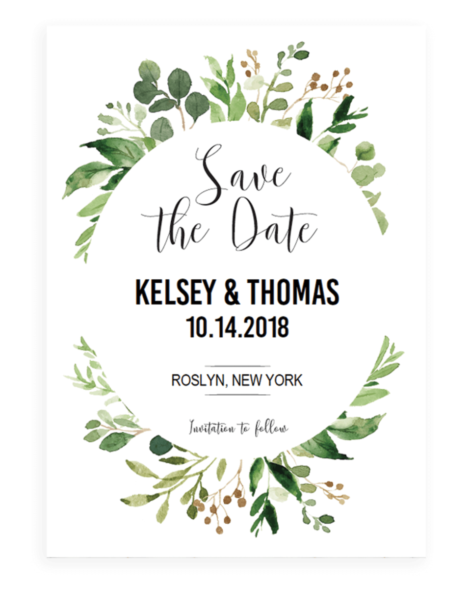 Watercolor Green Leaves Save the Date Card Template