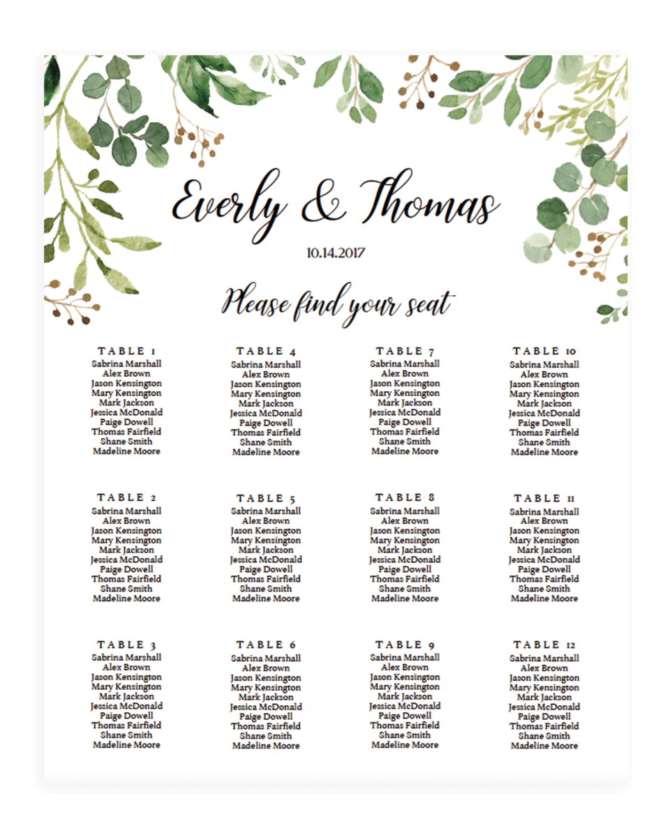 Lush Botanical Wedding Seating Chart Templates - WL1