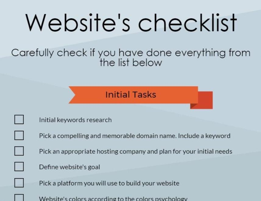 Detailed website's checklist