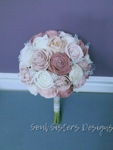 Vintage Rose gold and Champagne Blush Rose Bouquet
