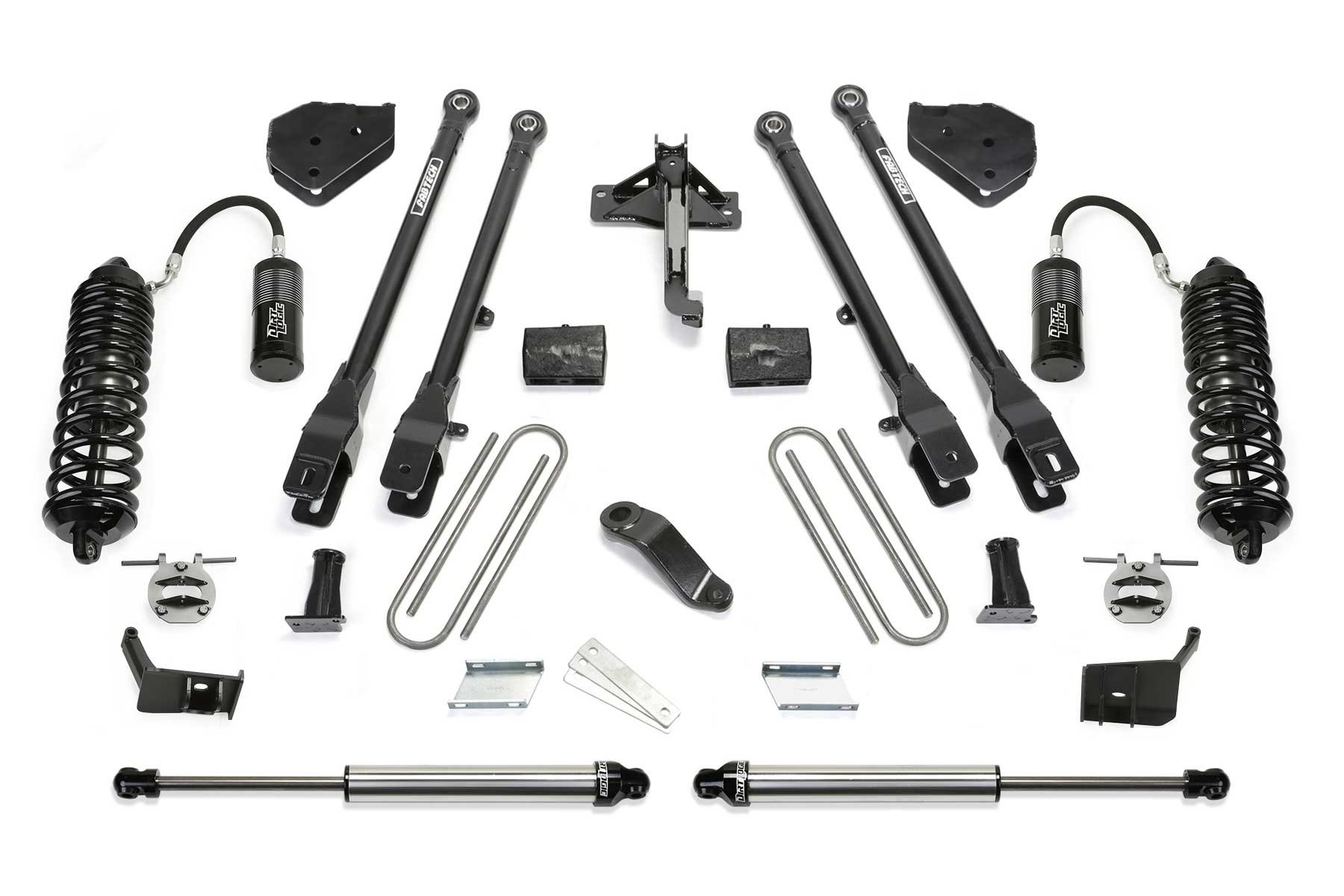 4″ 4 LINK SYSTEM W/ FRONT DIRT LOGIC 4 0 RESI COILOVERS & REAR DIRT LOGIC  2 25 SHOCKS 2017-19 F250/F350 4WD
