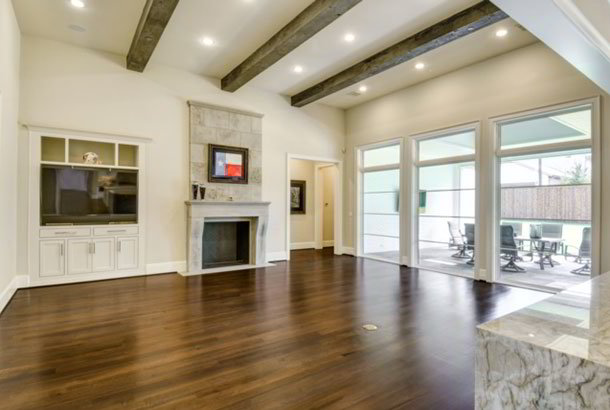 Multiple oversized windows in family room