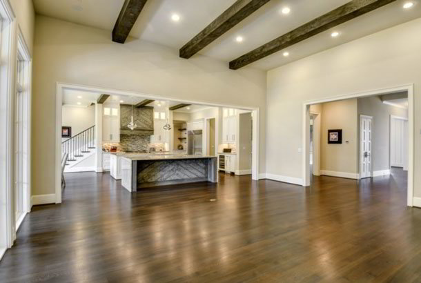 Beautiful wide-planked hardwood flooring