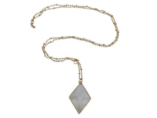 Crystal Quartz Diamond Prism Necklace