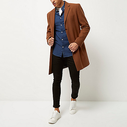 Medium brown smart wool overcoat